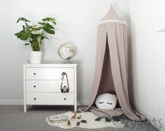 Muslin Canopy beige stars, Tent canopy, Bed Canopy, Crib Canopy, kids canopy, Play room canopy