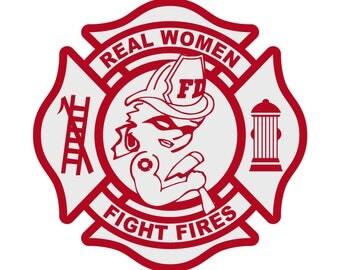 Female Firefighter Real Women Fight Fires Red Maltese Cross Reflective Decal Sticker Helmet Decal Car Window Truck Window Laptop Decal