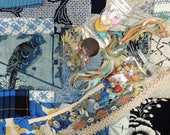 BLUES Designer Grab Bag: Vintage & Modern Fabric Scrap Bundle, Textile Arts Design Set. Dolls, Quilting, DIY Crafts, Swatch Bargain Pack 19
