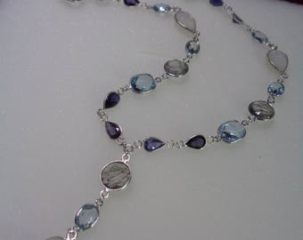 Y gemstone necklace with blue, quartz, moonstone, iolite, 925-er silver