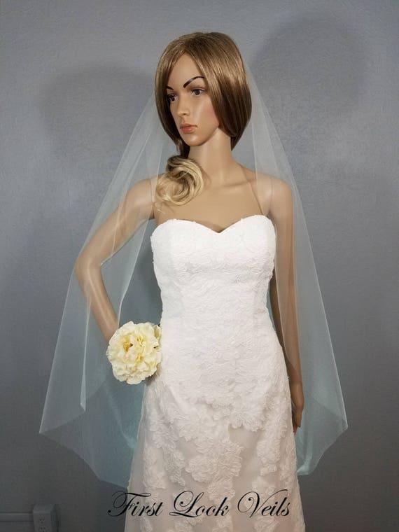 White Wedding Veil Bridal Waltz Veil, One Layer Plain Viel, Wedding Vail, Bridal Attire, Bridal Accessory, Wedding Accessories, Bride, Gift