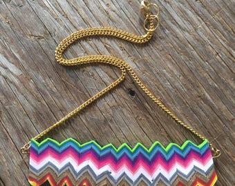 Bright Rainbow, Felt Backed, Polymer Clay Pendant Necklace