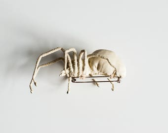 white spider brooch, textil art, insect, Soft sculptur,home decor, unique design, eco friedly,fabric spider