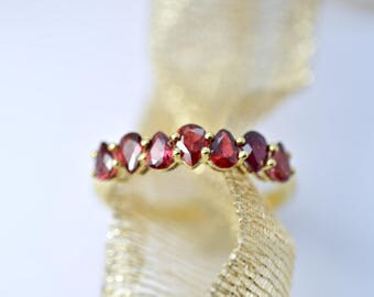 Pear Shape Ruby Band or Ring on 18K Yellow Gold