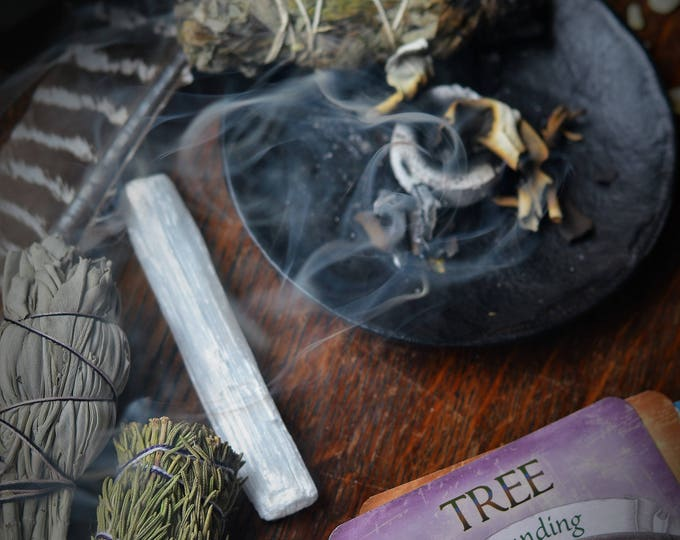 NATIVE MAGICK SMUDGE, Palo Santo, Selenite, White Sage, Rosemary, Blue Sage, smudging, wicca herbs, witch herbs, pagan altar