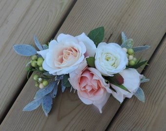 Flower Hair Comb, Flower Hair Comb - Wedding, Flower Hair Comb Pink and Peach, Wedding Hair Comb, Wedding Hair Flowers, Bridal Hair Piece