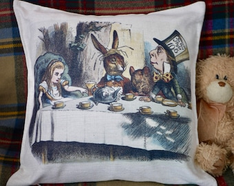 Alice in Wonderland / Mad Hatter's Tea Party Cushion - Kitsch Republic