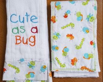 Cute as a Bug - Burp cloth, Embroidered