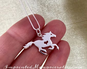 Silver Horse Necklace Sterling Silver Horse Heart Horse Jewelry Equestrian Jewelry - Gift for Horse Lover - Cowgirl Necklace Cowboy Jewelry