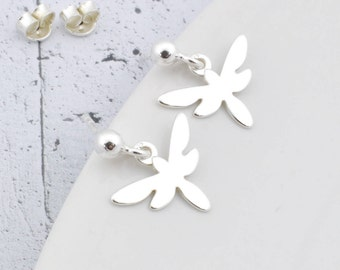Sterling Silver dragonfly earrings, silver dragonfly, dragonfly stud, earrings dragonfly, dangle, dragonfly, small stud