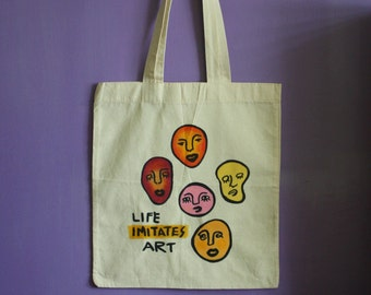 Life Imitates Art Doodle Heads Handpainted Abstract Totebag