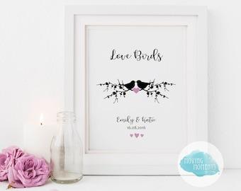 Personalised 'Love Birds' Print