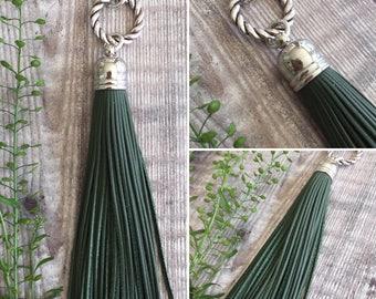 Dark Green Leather Tassel Necklace