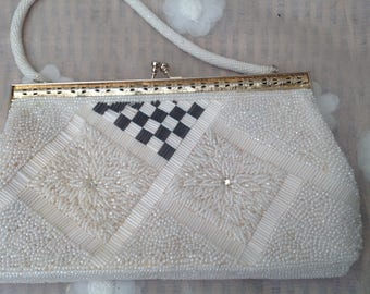Stunning Beaded Vintage 1950's Evening Bag