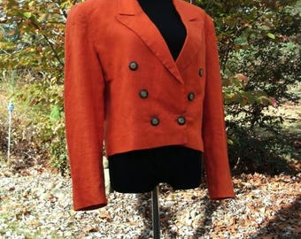 Vintage CROPPED BLAZER, Orange LINEN, Double-Breasted Short Jacket Top, Liz Claiborne 1980s, Bright Retro New Wave hip hop, Long Sleeves, 12