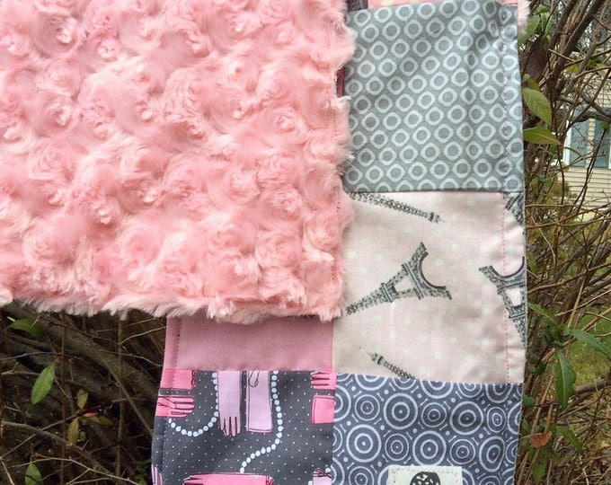 """Patchwork Scarf- """"Paisley Pink Paris"""" -Womens Scarf, Denim,  Corduroy, Fleece, Upcycle,Made in Maine, Warm, Cosy, Winter Accessories, Flicka"""
