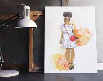 Weekend in the City | fashion illustration, yellow, orange, natural hair, ink, red, stripes, watercolor, black art, carefree black girl