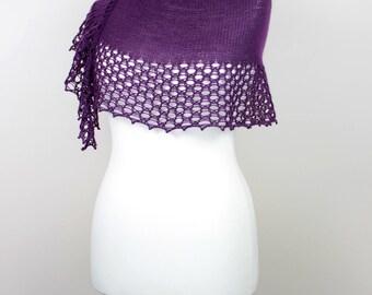 deep purple handknit shawl, merino wool shawlette, lace scarf, elegant shawl, bridesmaid shawl, gift for her