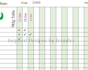 Girl Scout Troop Dues Tracker Instant Download