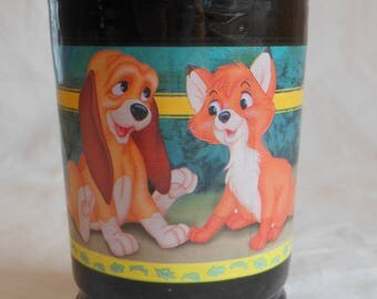 Vintage Walt Disney The Fox and The Hound Bama Jelly Jar Glass Gold Collection #2