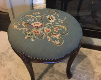 Victorian Foot Stool / Antique Needle Point / Foot Stool / Vintage Pink Blue Cream Floral Print