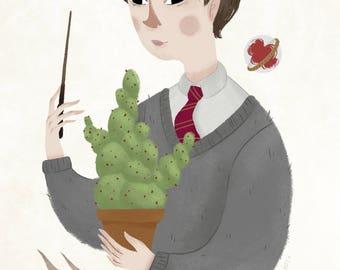 Neville Longbottom, fine art print, Harry Potter, 5x7