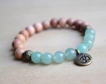 Green Aventurine Bracelet / Yoga Bracelet / Meditation Bracelet / Om Charm Bracelet / Unique Gift Idea / Gift for Her / Boho Jewelry