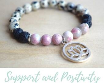 Dalmatian Jasper and Rhodonite Bracelet / gift-for-wife, yoga gift for mom, self care, positive vibes, best selling items, amulet bracelet