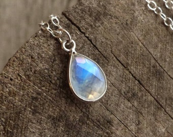 Moonstone necklace, rainbow moonstone water droplet, blue flash, dainty sterling silver chain, June birthstone necklace