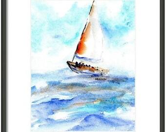 Sailboat Watercolor Painting, ORIGINAL, 5x7 matted to 8x10, Gift Ready, Boat, Sailing, Seascape Ocean art, Beach theme,Nautical, Sea, beachy