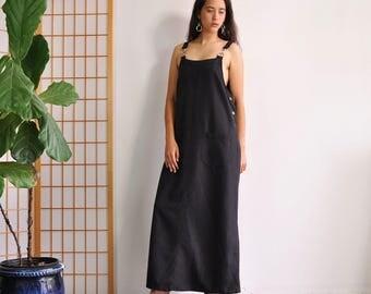 Minimal Jumper Dress, 90s Maxi Jumper, Lagenlook Dress, Vintage 90s Jumper, Oversize Maxi Dress, Sleeveless Full Length Casual Black Dress