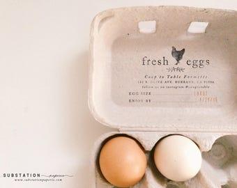 Custom Chicken Rubber Stamp - Fill in the Blank Egg Carton Stamp - Egg Carton Labels - Backyard Chickens - Fresh Eggs Stamp - Egg Packaging