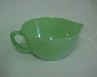 Fire King Jadeite Mixing Bowl-Mid Century Kitchen-Spout & Handle Jadeite Bowl-c1940-1950-