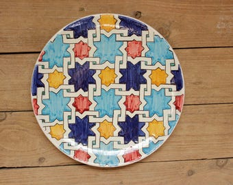 Moroccan Decorative Plate, Ceramic Plate Moroccan Handmade, modern ceramic plate, ceramic dish, ceramic plate, Wall Hanging, Maroccan dish