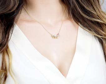 Delicate Rose Gold Initial Necklace, Dainty Initial Jewelry, Personalized Letter Gift, Bridesmaid Gift - BIN