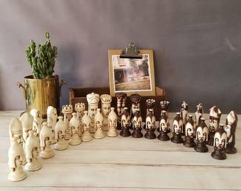 Handmade Vintage Chess Set/ Mid Century Duncan Ceramic Chess Set/ Alice in Wonderland/ Vintage Chess Pieces/ Oversized Chess Set/ Chess gift