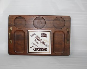 Large Rectangle, Handled, Vintage Mod Wood & Tile Cheese Board Platter Tray Mid Century Modern. Typography