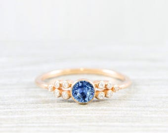 Ceylon light blue sapphire and diamond art deco 1920's inspired engagement ring in rose/yellow/white gold or platinum handmade