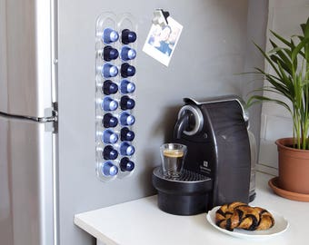 Clear Nespresso Coffee Capsules Holder, Coffee Pod Storage, Magnetic Wall Mount Coffee Pod holder Organizer Coffee Lover Gift, Kitchen Decor