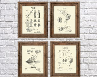 Fly Fishing decor Fishing Lure Fly rod patent art prints set of 4 unframed fly fishing decor,  fly fishing Gift, fly fishing retirement gift