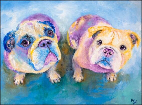 """English Bulldog Art Print of My Dog Painting - Pair of English Bulldogs, Dog Artwork, England Bulldog, Bulldog Wall Art """"Jude and Beth""""."""