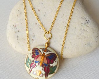 Gold Tone Cloisonne Necklace Vintage Butterfly  Two Sided Puffy Pendant, Round Cloisonne Jewelry, Costume Cloisonne 70's Cloisonne Butterfly