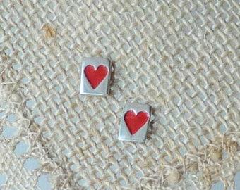 8k White Gold Heart Stud Earrings Enamel Vintage 8kt Gold Earrings, 8k Minimalist Heart Earrings, Girls Earrings Gold Heart Jewelry