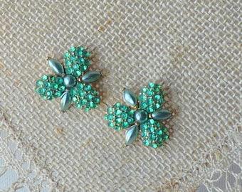 MONET Silver Tone  Rhinestone Earrings Vintage Stud Earrings MINT Signed Elegant Floral Pierced, Vintage Earrings from 70's  Monet Jewelry