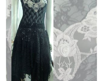 Black lace gothic dress tattered ragged shabby cottage french style wedding event party dress Size 6 - 9. Black and grey