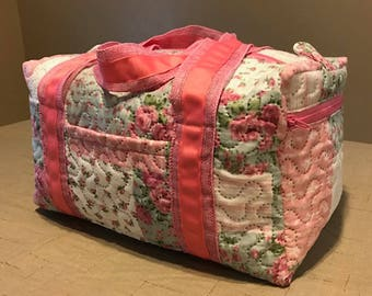 Pink Floral 14 inch Duffle Bag