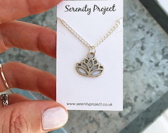 Lotus flower necklace, lotus necklace, lotus flower jewellery, silver charm necklace for silver layered necklaces by Serenity Project