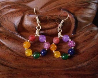 Wire Wrapped Chakra Earrings