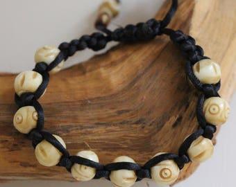 Whimsical Bone bead shambala bracelet