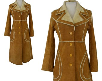 1970s Coat, 70s Boho Coat, Bohemian Coat, Camel Brown Suede Princess Coat, Tan Coat, Real Leather, Faux Shearling, Full Length Coat, Medium